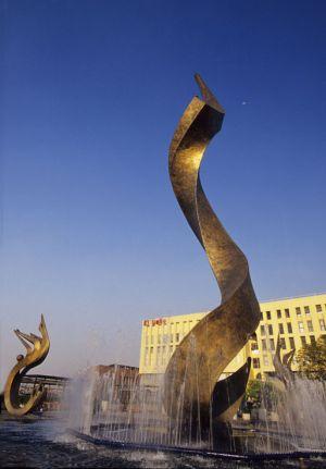 Fuente de la inmolación de Quetzalcóatl en el centro de Guadalajara, Jal.