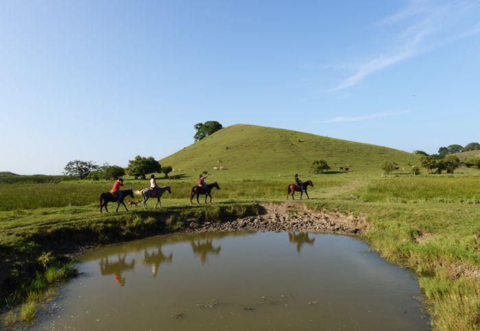 Cabalgata junto a cocodrilos hacia cerro Farallón de Tumilco.