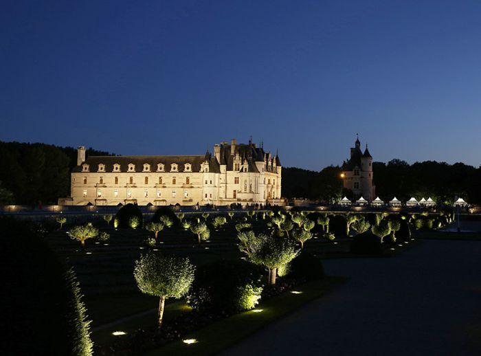 Castillo de Chenonceau, jardín bajo las estrellas.