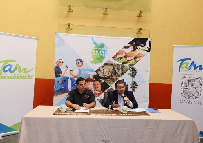 Secretario de Turismo de Tamaulipas, Fernando Olivera y Atenógenes H. Saldivar
