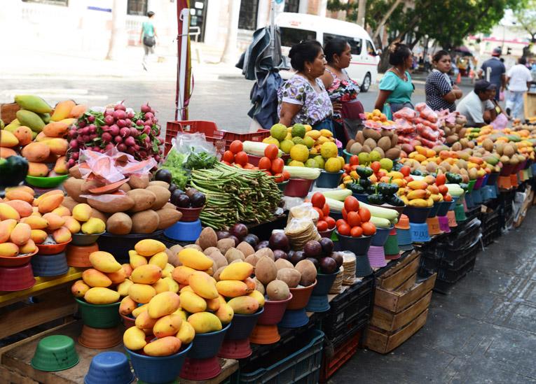 Frutas y verduras que constituyen la gastronomía de Ḿérida